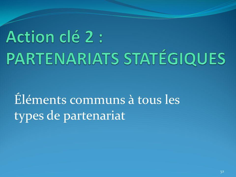 Éléments communs à tous les types de partenariat 52