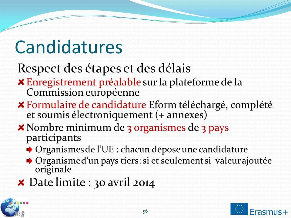 Candidatures Respect des étapes et des délais Enregistrement préalable sur la plateforme de la Commission européenne Formulaire de candidature Eform t