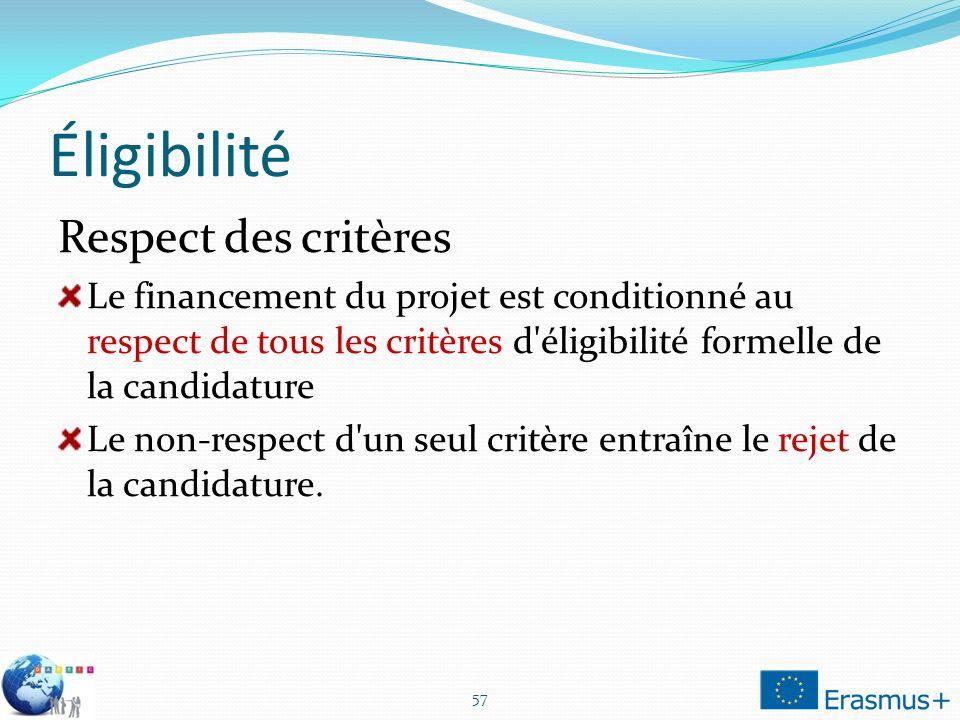 Éligibilité Respect des critères Le financement du projet est conditionné au respect de tous les critères d éligibilité formelle de la candidature Le non-respect d un seul critère entraîne le rejet de la candidature.