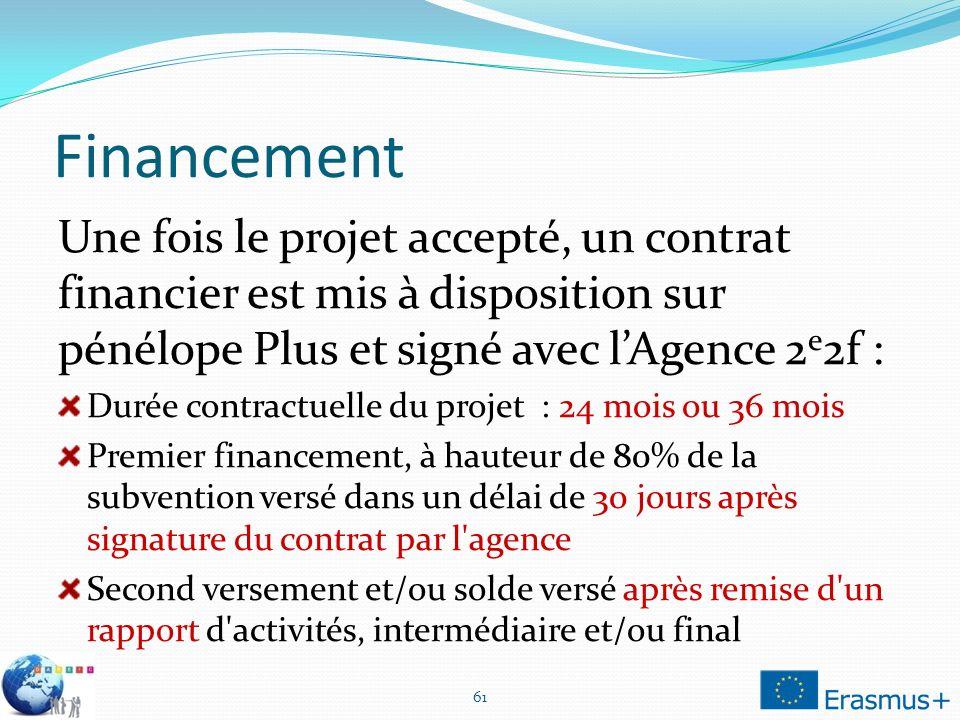 Financement Une fois le projet accepté, un contrat financier est mis à disposition sur pénélope Plus et signé avec lAgence 2 e 2f : Durée contractuell