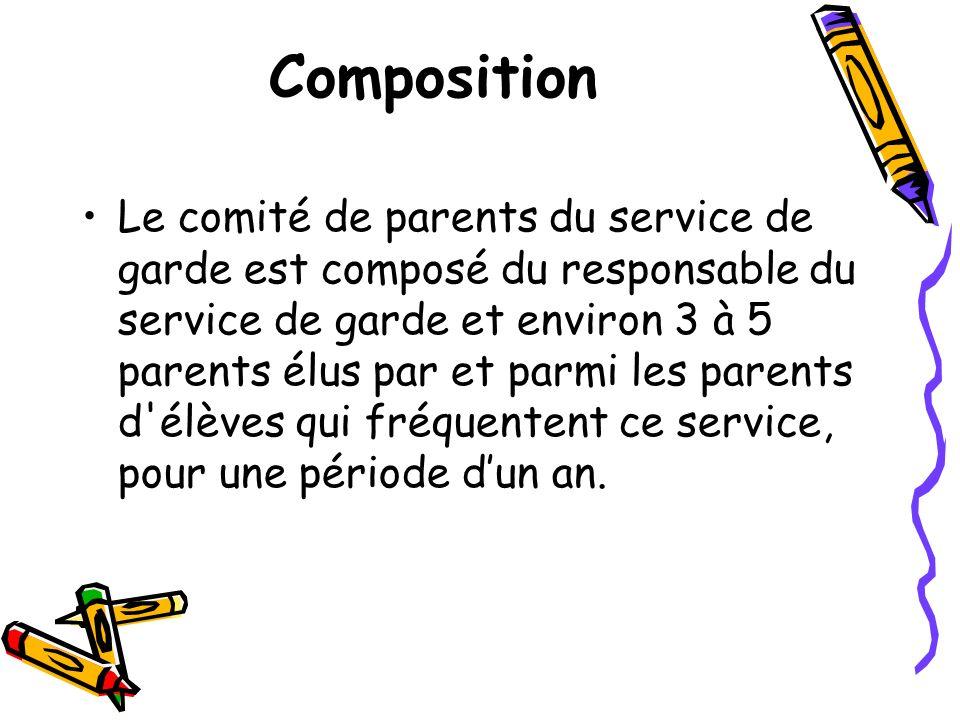 Composition Le comité de parents du service de garde est composé du responsable du service de garde et environ 3 à 5 parents élus par et parmi les par