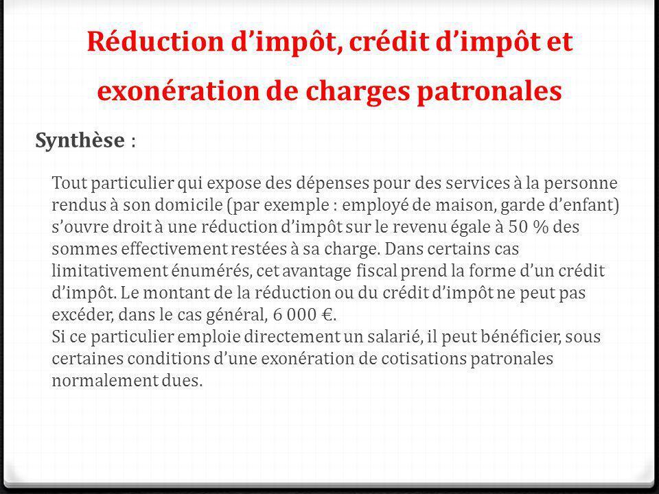 Réduction dimpôt, crédit dimpôt et exonération de charges patronales Synthèse : Tout particulier qui expose des dépenses pour des services à la person