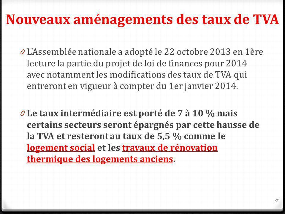 Nouveaux aménagements des taux de TVA 0 L'Assemblée nationale a adopté le 22 octobre 2013 en 1ère lecture la partie du projet de loi de finances pour