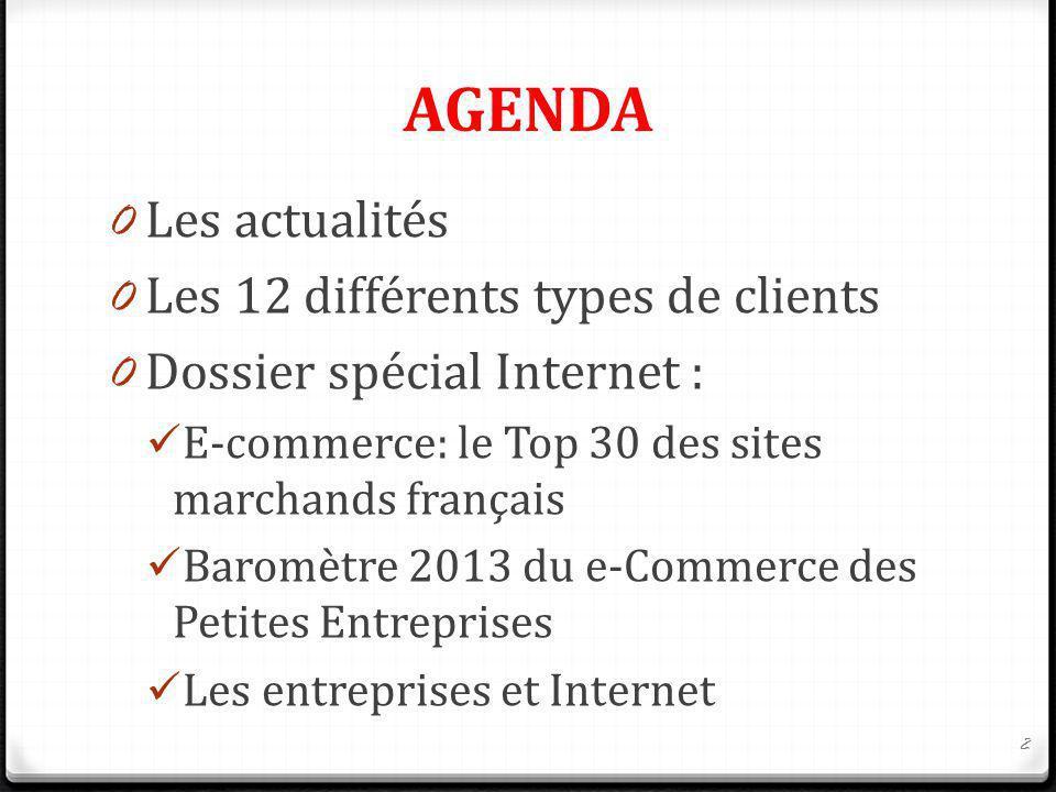 AGENDA 0 Les actualités 0 Les 12 différents types de clients 0 Dossier spécial Internet : E-commerce: le Top 30 des sites marchands français Baromètre