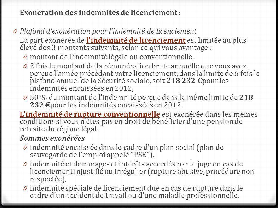 Exonération des indemnités de licenciement : 0 Plafond d'exonération pour l'indemnité de licenciement La part exonérée de l'indemnité de licenciement
