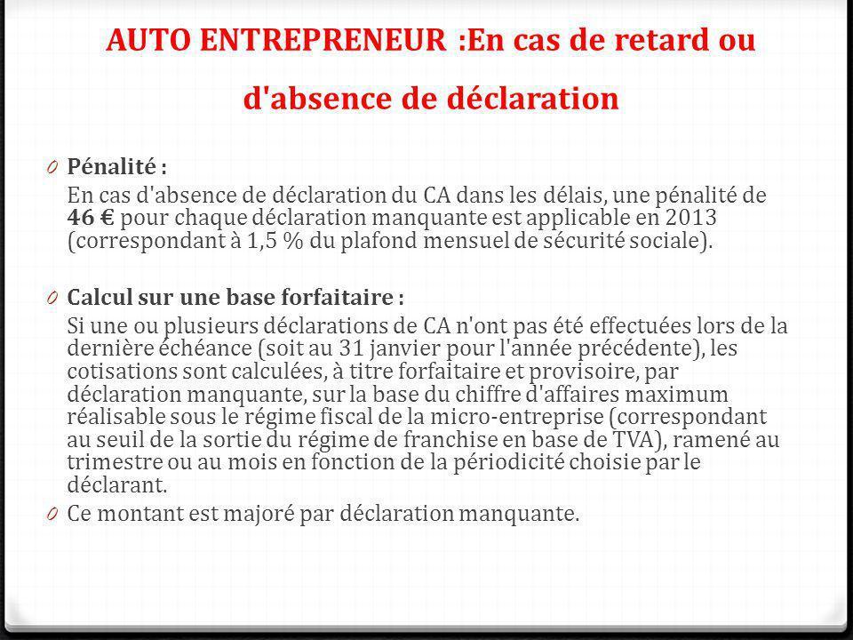 AUTO ENTREPRENEUR :En cas de retard ou d'absence de déclaration 0 Pénalité : En cas d'absence de déclaration du CA dans les délais, une pénalité de 46