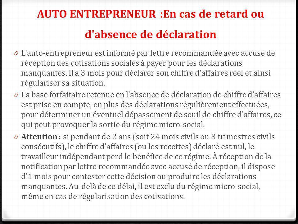 0 L'auto-entrepreneur est informé par lettre recommandée avec accusé de réception des cotisations sociales à payer pour les déclarations manquantes. I