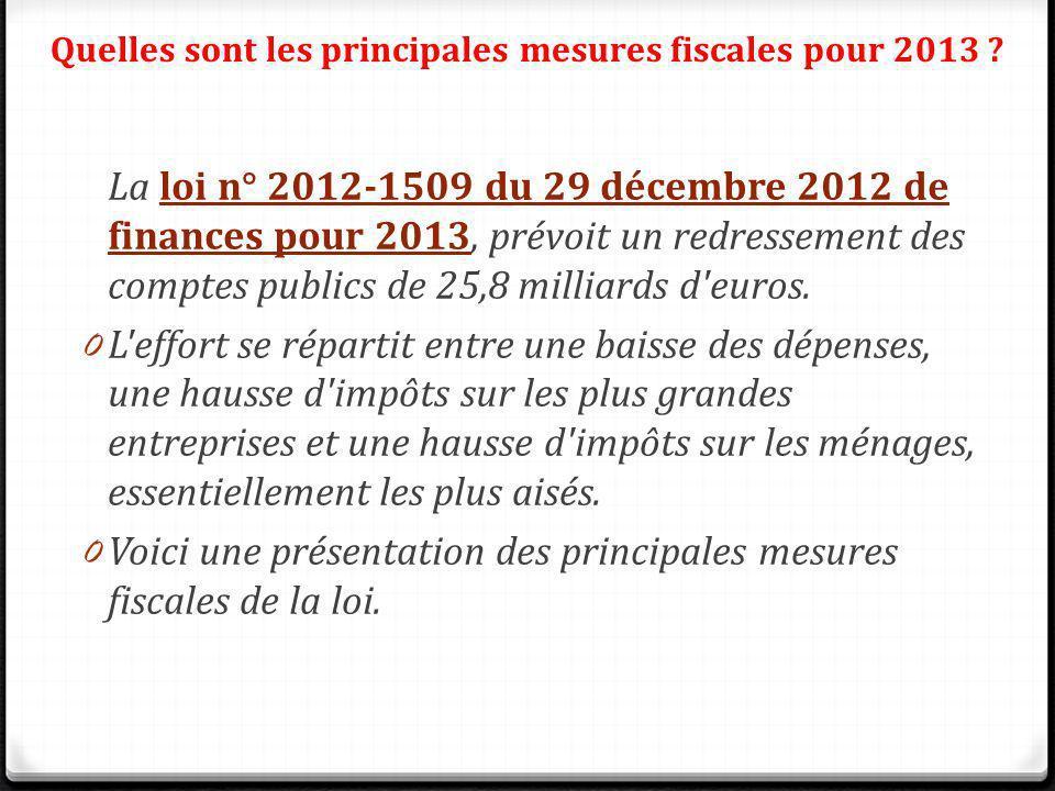 Quelles sont les principales mesures fiscales pour 2013 ? La loi n° 2012-1509 du 29 décembre 2012 de finances pour 2013, prévoit un redressement des c