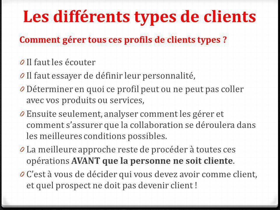 Les différents types de clients Comment gérer tous ces profils de clients types ? 0 Il faut les écouter 0 Il faut essayer de définir leur personnalité