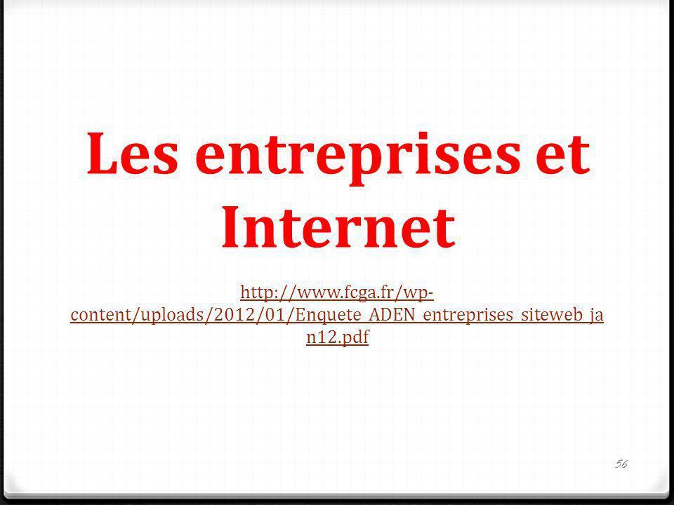 Les entreprises et Internet http://www.fcga.fr/wp- content/uploads/2012/01/Enquete_ADEN_entreprises_siteweb_ja n12.pdf 56