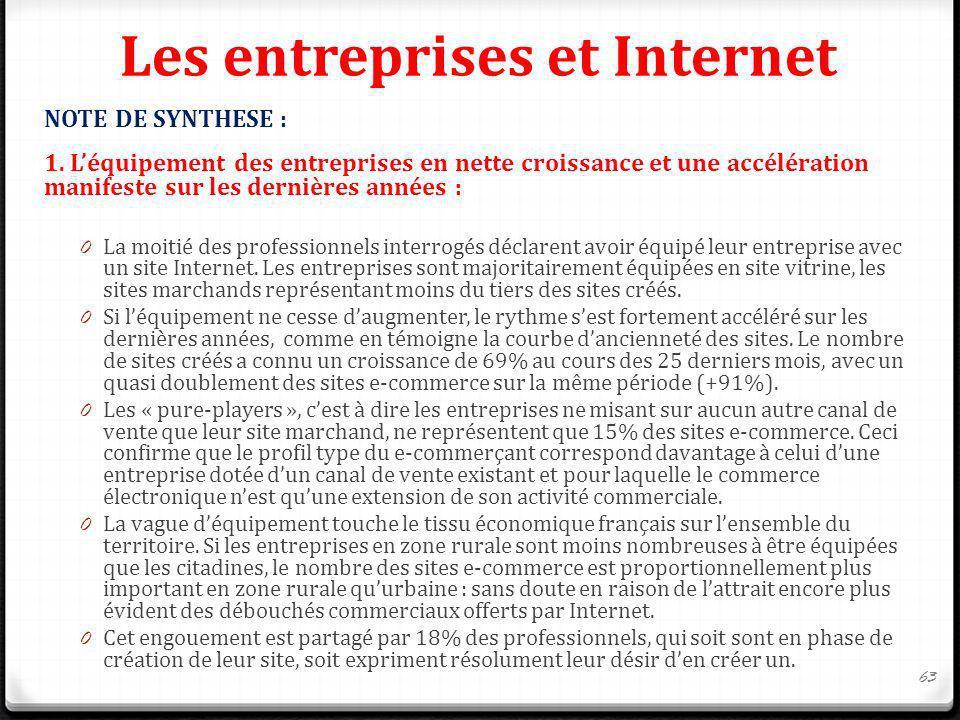 Les entreprises et Internet NOTE DE SYNTHESE : 1. Léquipement des entreprises en nette croissance et une accélération manifeste sur les dernières anné