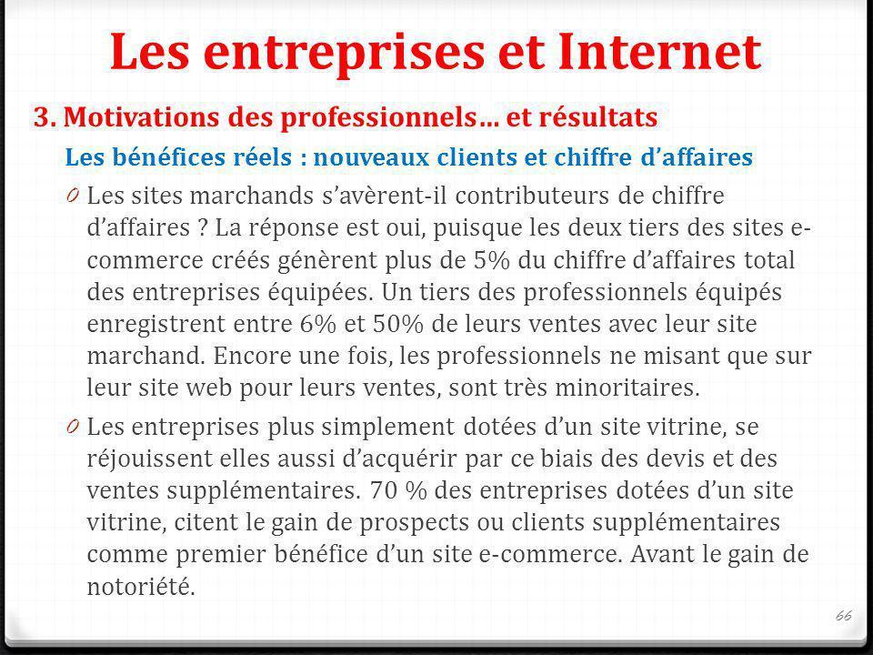 Les entreprises et Internet 3. Motivations des professionnels… et résultats Les bénéfices réels : nouveaux clients et chiffre daffaires 0 Les sites ma