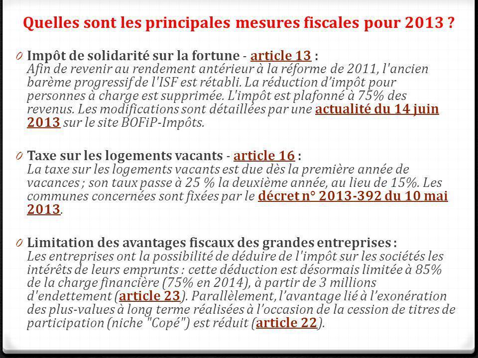 0 Impôt de solidarité sur la fortune - article 13 : Afin de revenir au rendement antérieur à la réforme de 2011, l'ancien barème progressif de l'ISF e