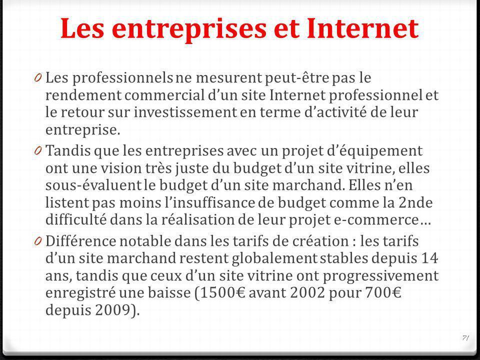 Les entreprises et Internet 0 Les professionnels ne mesurent peut-être pas le rendement commercial dun site Internet professionnel et le retour sur in