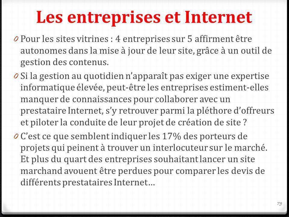 Les entreprises et Internet 0 Pour les sites vitrines : 4 entreprises sur 5 affirment être autonomes dans la mise à jour de leur site, grâce à un outi