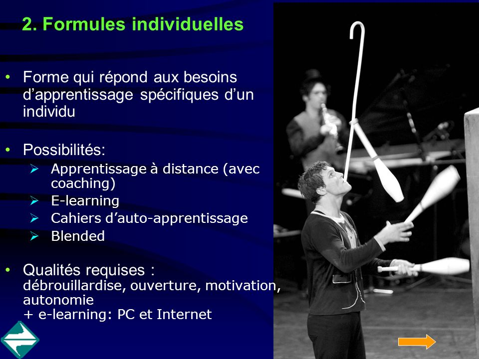 2. Formules individuelles Forme qui répond aux besoins dapprentissage spécifiques dun individu Possibilités: Apprentissage à distance (avec coaching)