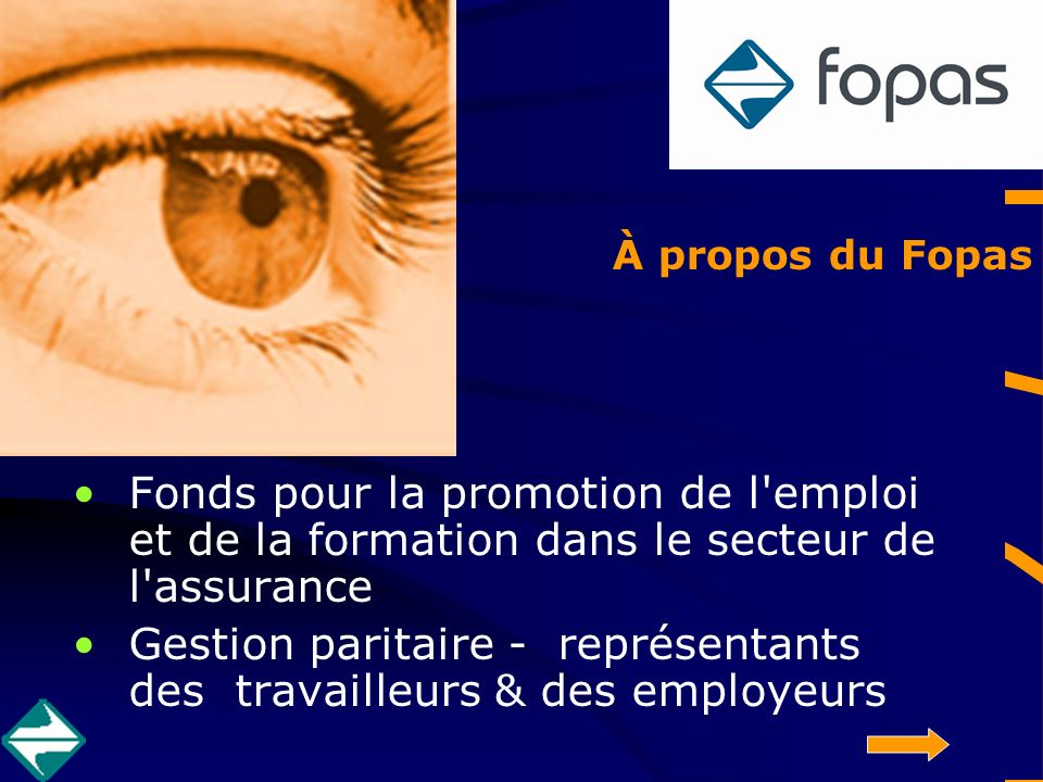 Fopas Fonds pour la promotion de l emploi et de la formation dans le secteur de l assurance Gestion paritaire - représentants des travailleurs & des employeurs À propos du Fopas