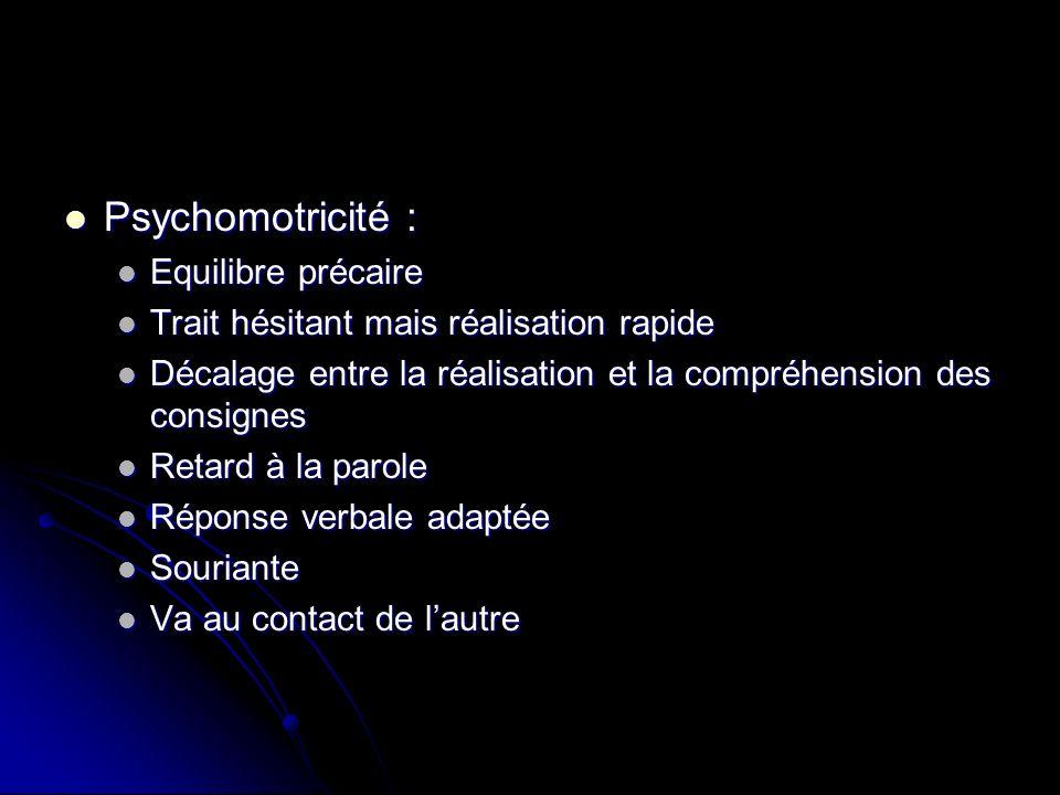 Psychomotricité : Psychomotricité : Equilibre précaire Equilibre précaire Trait hésitant mais réalisation rapide Trait hésitant mais réalisation rapid