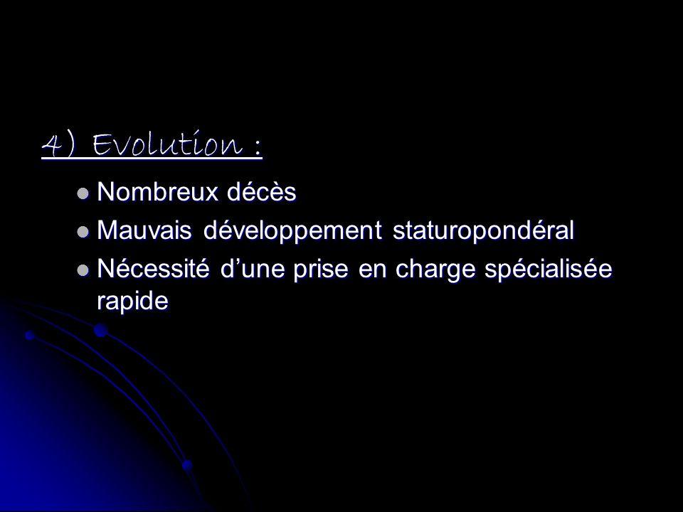 4) Evolution : Nombreux décès Nombreux décès Mauvais développement staturopondéral Mauvais développement staturopondéral Nécessité dune prise en charg
