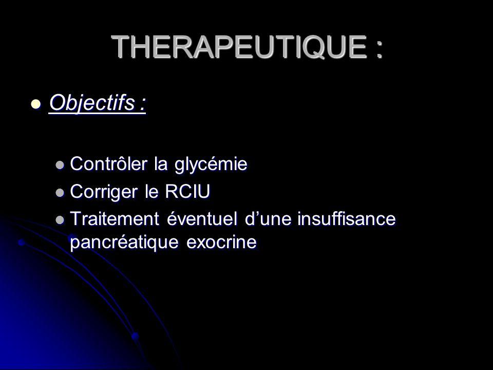 THERAPEUTIQUE : Objectifs : Objectifs : Contrôler la glycémie Contrôler la glycémie Corriger le RCIU Corriger le RCIU Traitement éventuel dune insuffi