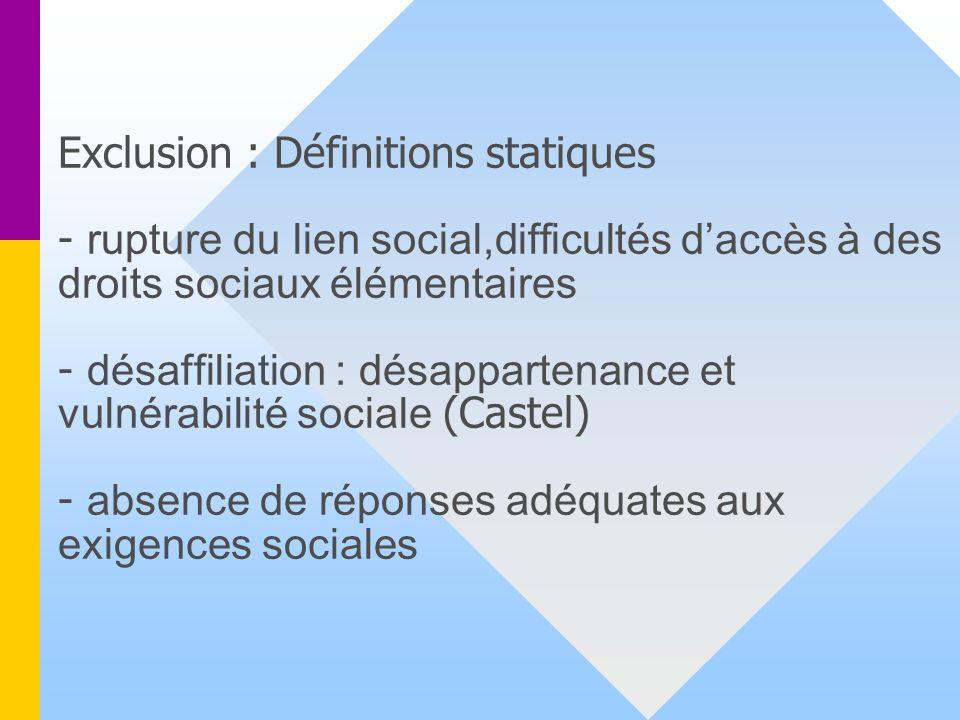 Exclusion : Définitions statiques - rupture du lien social,difficultés daccès à des droits sociaux élémentaires - désaffiliation : désappartenance et vulnérabilité sociale (Castel) - absence de réponses adéquates aux exigences sociales