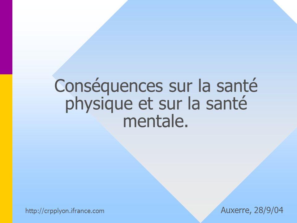 Conséquences sur la santé physique et sur la santé mentale.