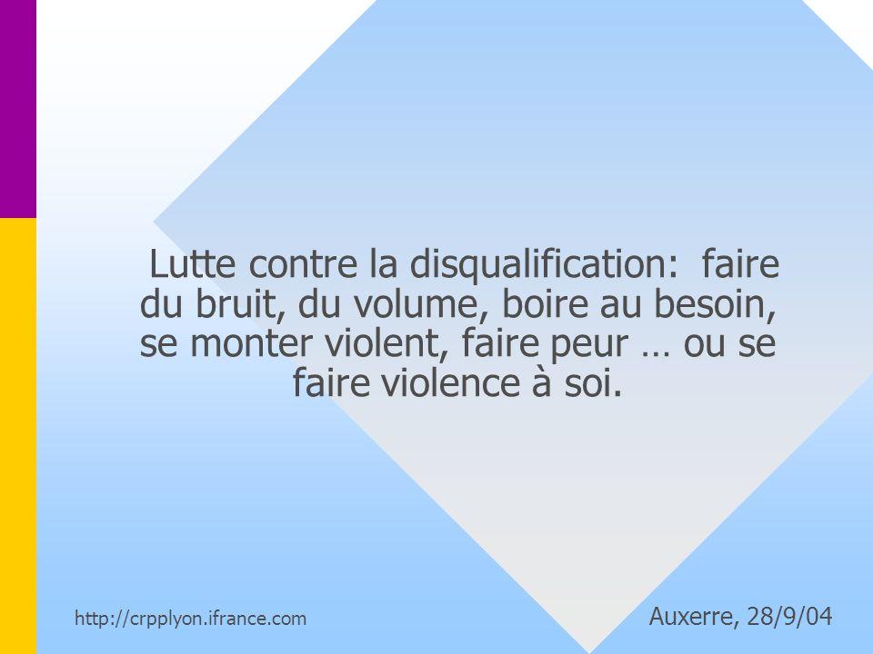 Lutte contre la disqualification: faire du bruit, du volume, boire au besoin, se monter violent, faire peur … ou se faire violence à soi.