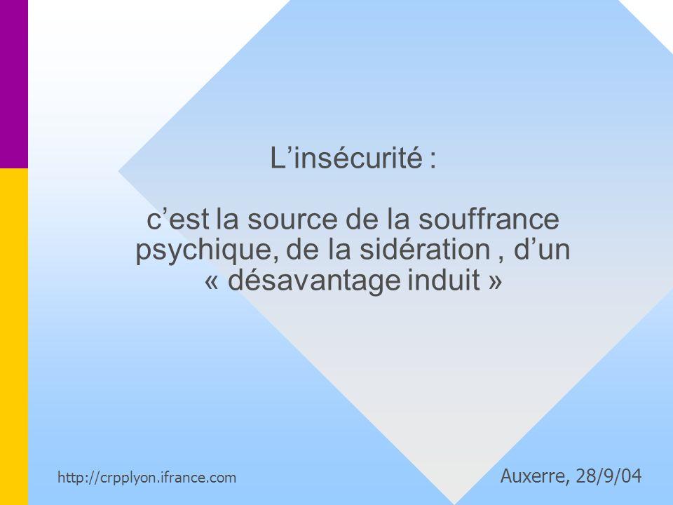 Linsécurité : cest la source de la souffrance psychique, de la sidération, dun « désavantage induit » http://crpplyon.ifrance.com Auxerre, 28/9/04
