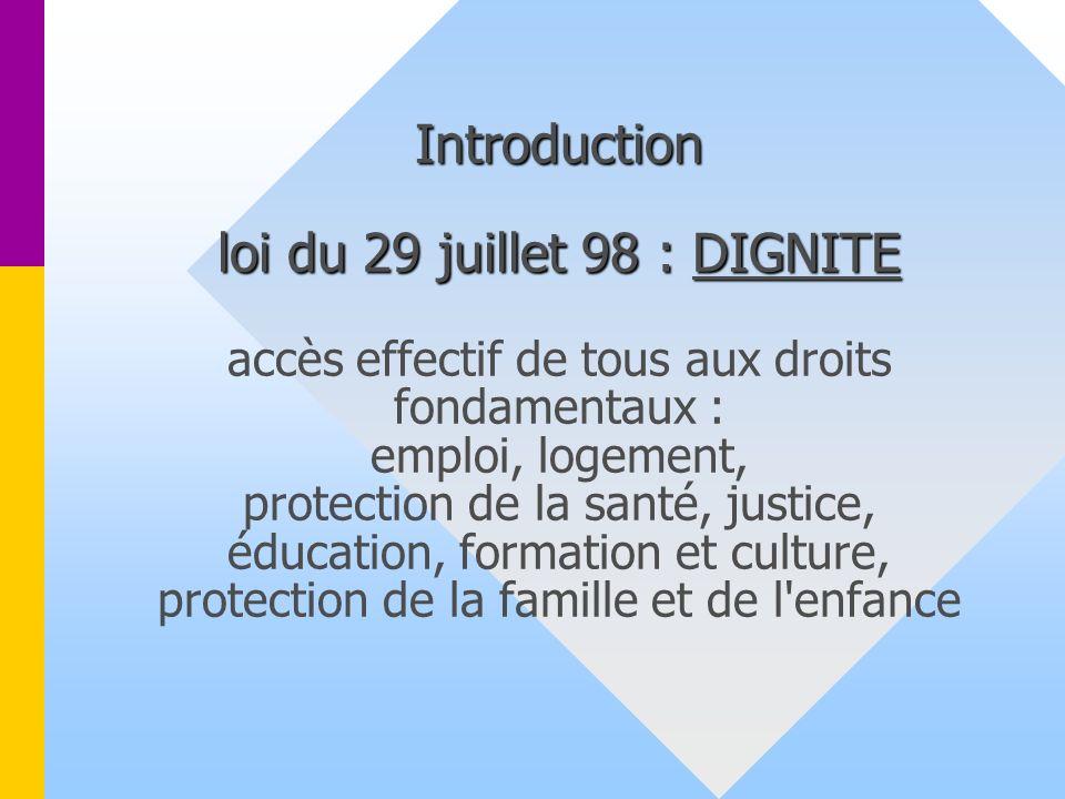 Introduction loi du 29 juillet 98 : DIGNITE Introduction loi du 29 juillet 98 : DIGNITE accès effectif de tous aux droits fondamentaux : emploi, logement, protection de la santé, justice, éducation, formation et culture, protection de la famille et de l enfance