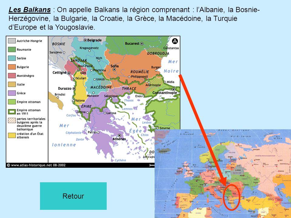 Les Balkans : On appelle Balkans la région comprenant : lAlbanie, la Bosnie- Herzégovine, la Bulgarie, la Croatie, la Grèce, la Macédoine, la Turquie