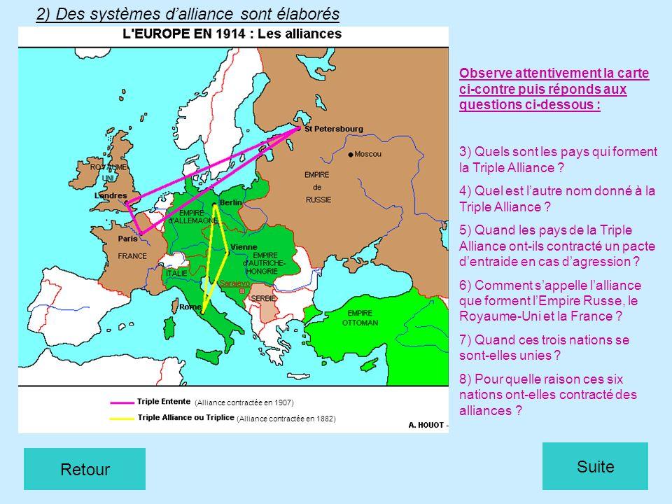 2) Des systèmes dalliance sont élaborés (Alliance contractée en 1882) (Alliance contractée en 1907) Observe attentivement la carte ci-contre puis répo