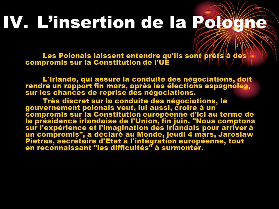 IV.Linsertion de la Pologne Les Polonais laissent entendre qu ils sont prêts à des compromis sur la Constitution de l UE L Irlande, qui assure la conduite des négociations, doit rendre un rapport fin mars, après les élections espagnoles, sur les chances de reprise des négociations.