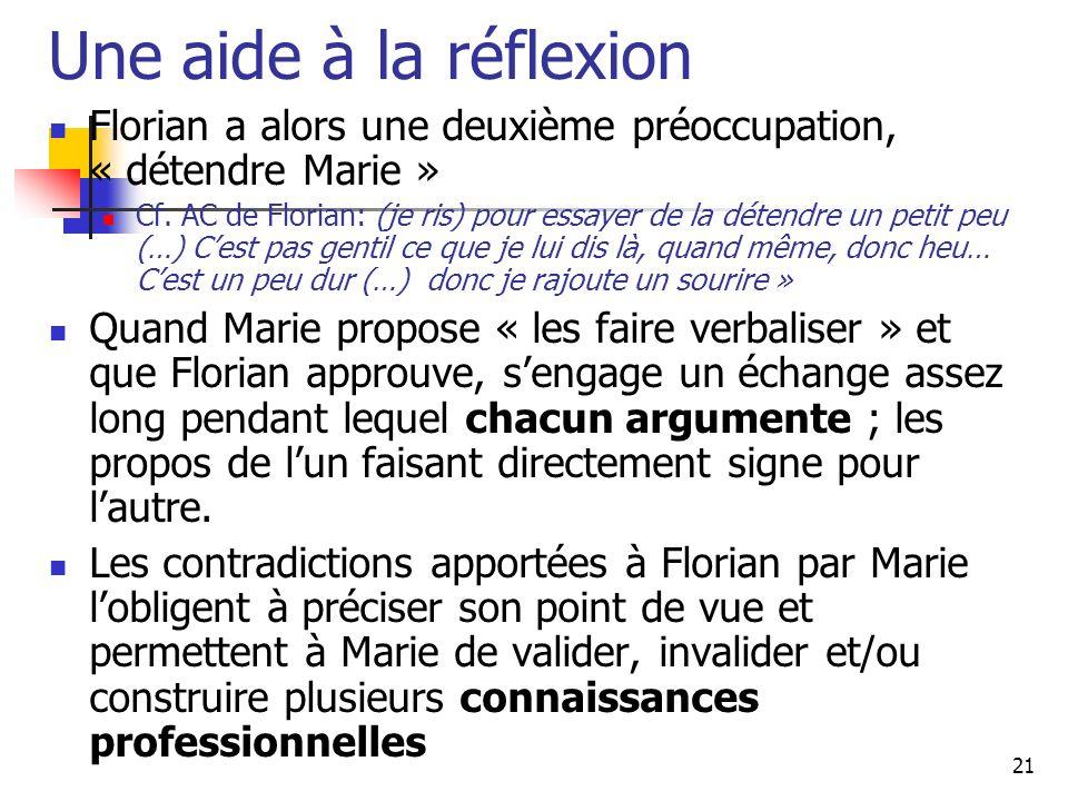 21 Une aide à la réflexion Florian a alors une deuxième préoccupation, « détendre Marie » Cf.
