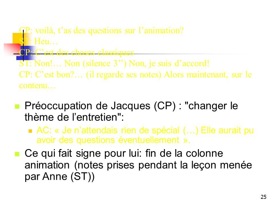 25 Préoccupation de Jacques (CP) : changer le thème de lentretien : AC: « Je nattendais rien de spécial (…) Elle aurait pu avoir des questions éventuellement ».