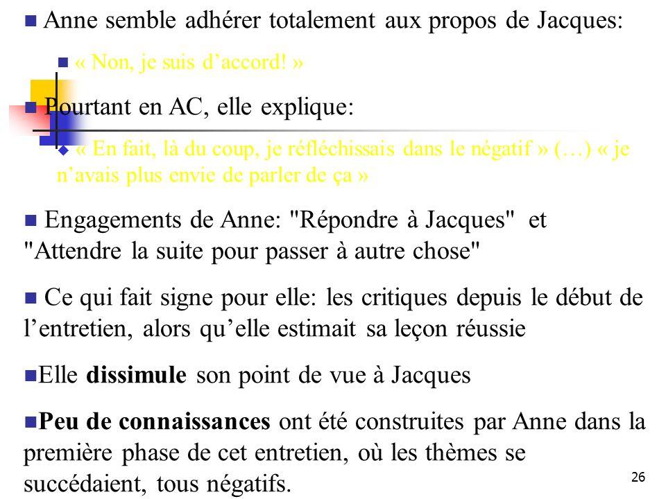 26 Anne semble adhérer totalement aux propos de Jacques: « Non, je suis daccord.