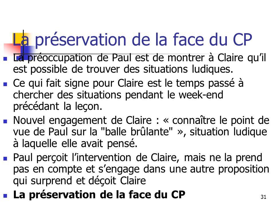 31 La préservation de la face du CP La préoccupation de Paul est de montrer à Claire quil est possible de trouver des situations ludiques.