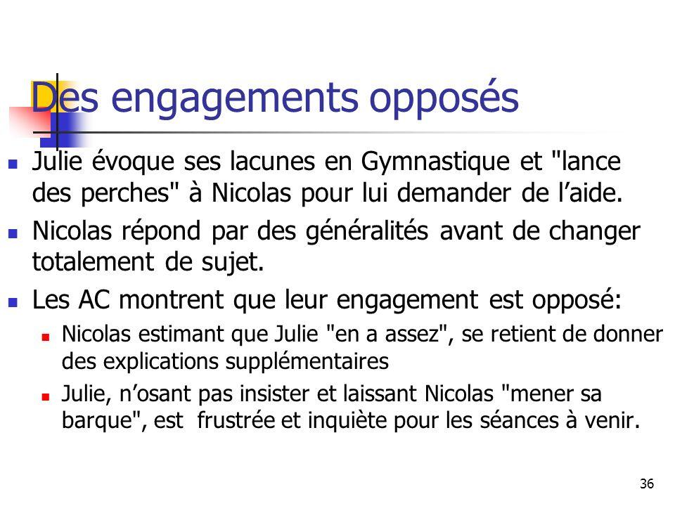 36 Des engagements opposés Julie évoque ses lacunes en Gymnastique et lance des perches à Nicolas pour lui demander de laide.