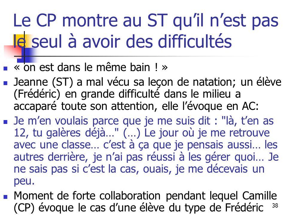 38 Le CP montre au ST quil nest pas le seul à avoir des difficultés « on est dans le même bain .