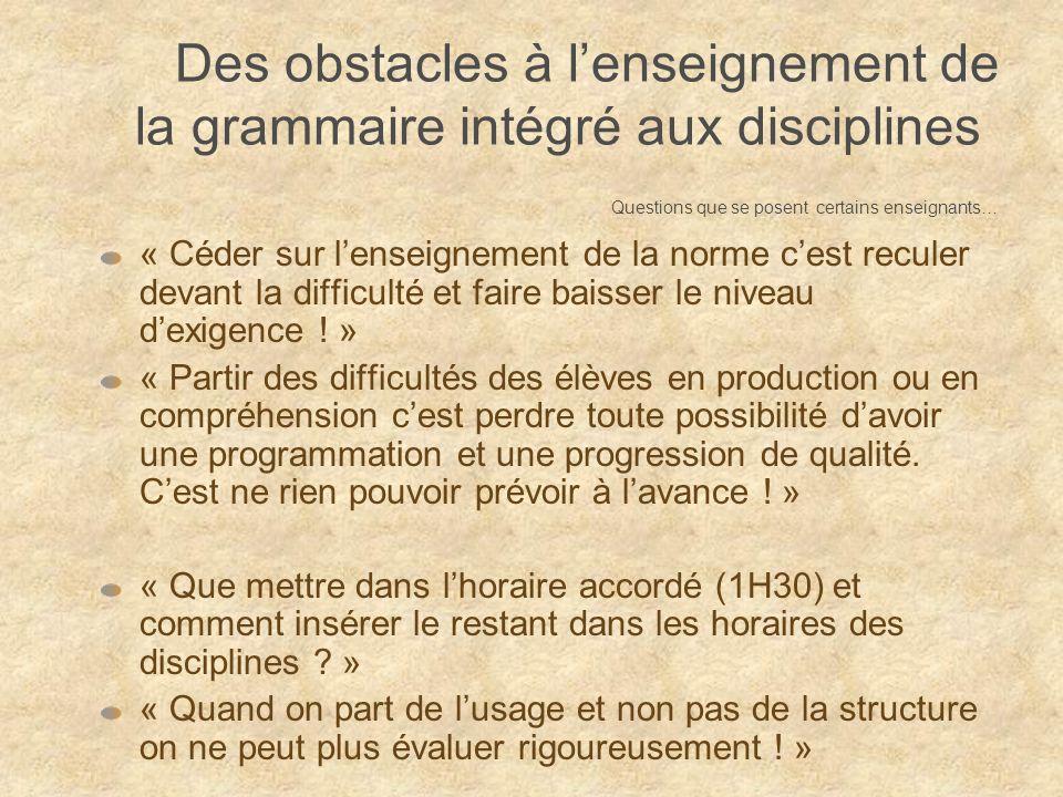 Des obstacles …« Que mettre dans lhoraire accordé (1H30) et comment insérer le restant dans les horaires des disciplines .