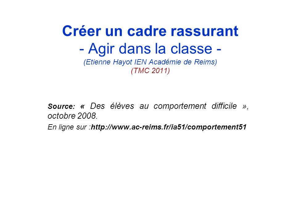 Créer un cadre rassurant - Agir dans la classe - (Etienne Hayot IEN Académie de Reims) (TMC 2011) Source: « Des élèves au comportement difficile », oc