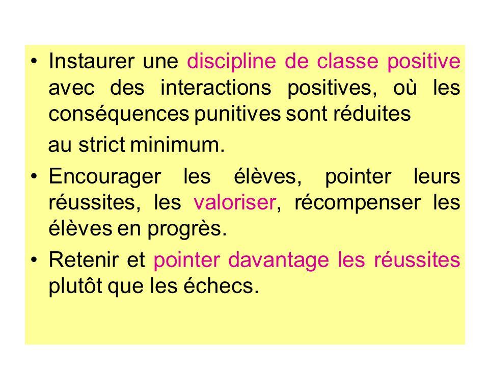 Instaurer une discipline de classe positive avec des interactions positives, où les conséquences punitives sont réduites au strict minimum. Encourager