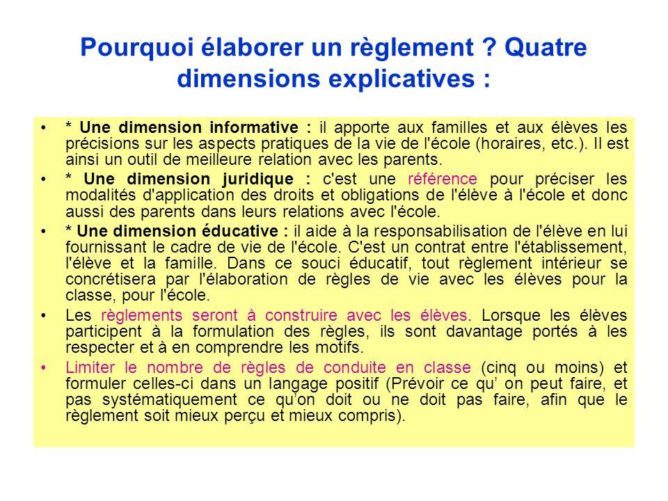 Pourquoi élaborer un règlement ? Quatre dimensions explicatives : * Une dimension informative : il apporte aux familles et aux élèves les précisions s