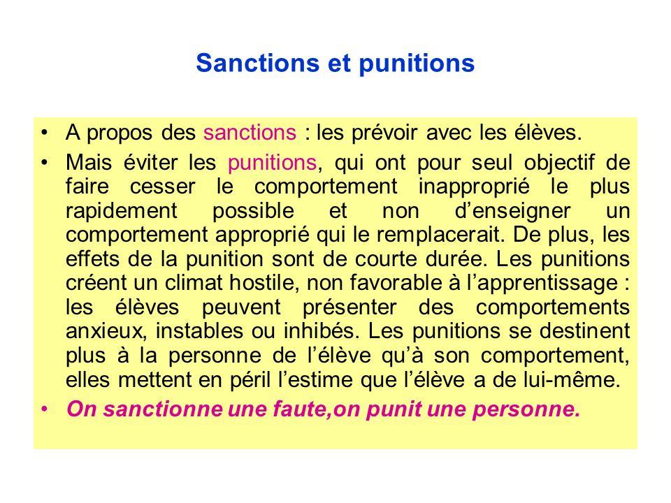 Sanctions et punitions A propos des sanctions : les prévoir avec les élèves. Mais éviter les punitions, qui ont pour seul objectif de faire cesser le
