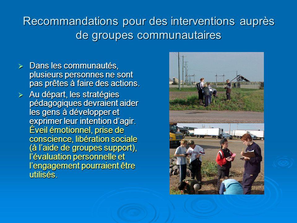 Recommandations pour des interventions auprès de groupes communautaires Dans les communautés, plusieurs personnes ne sont pas prêtes à faire des actions.