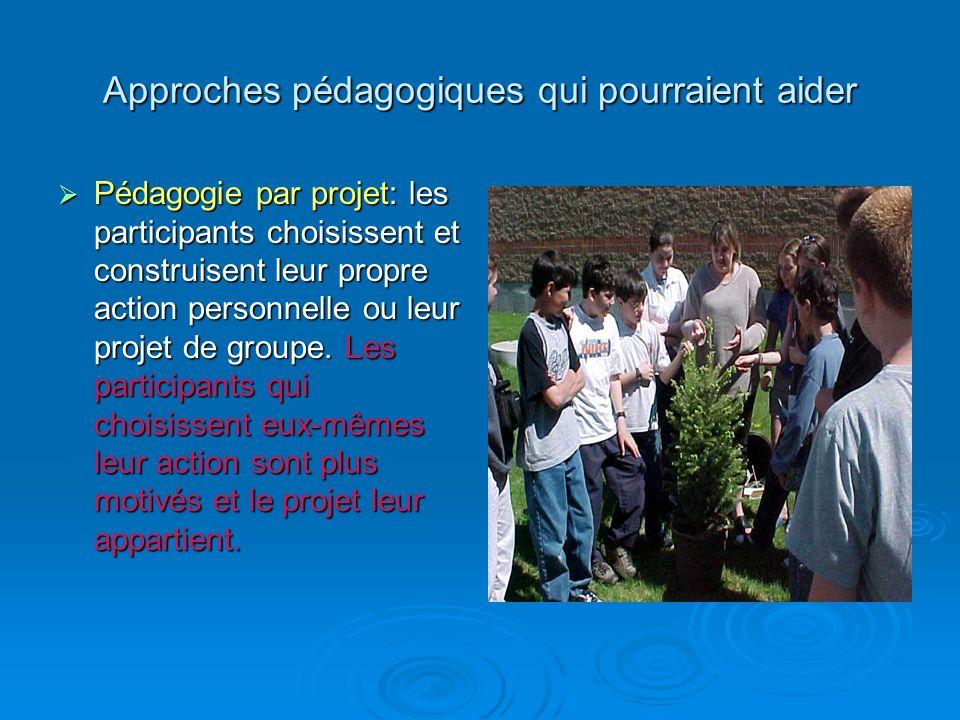 Approches pédagogiques qui pourraient aider Pédagogie par projet: les participants choisissent et construisent leur propre action personnelle ou leur projet de groupe.