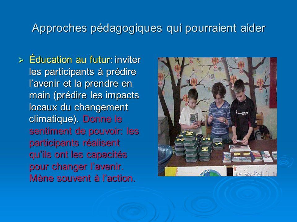 Approches pédagogiques qui pourraient aider Éducation au futur: inviter les participants à prédire lavenir et la prendre en main (prédire les impacts locaux du changement climatique).