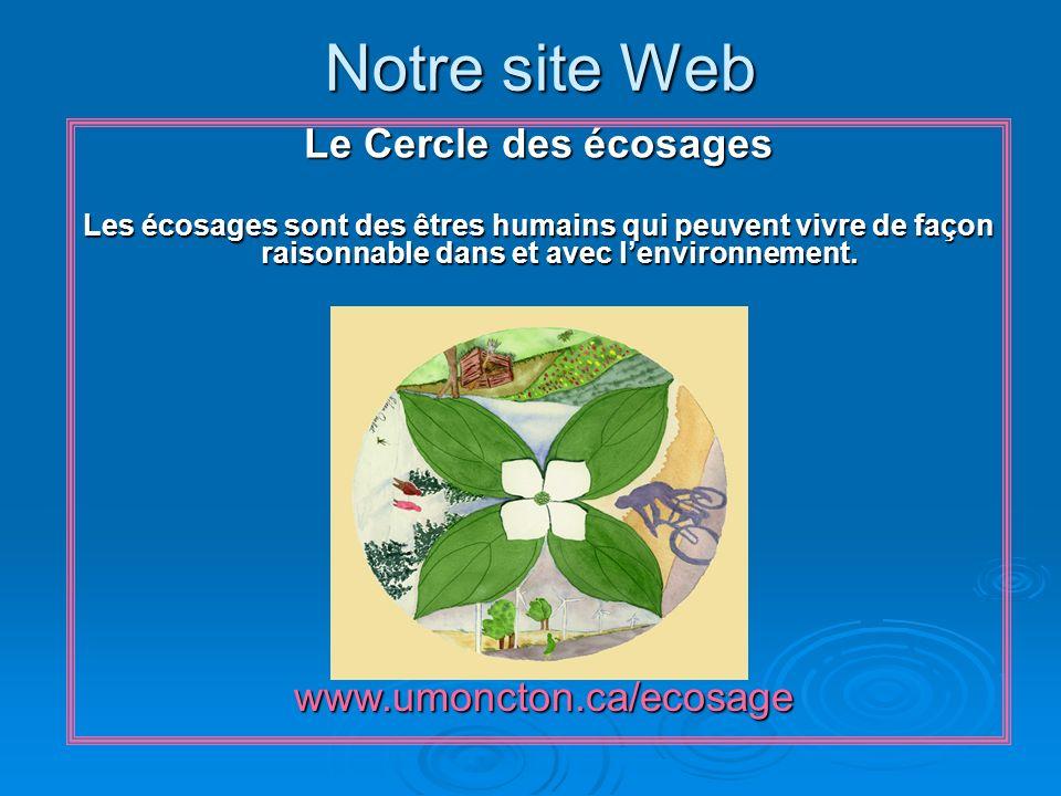 Notre site Web www.umoncton.ca/ecosage www.umoncton.ca/ecosage Le Cercle des écosages Les écosages sont des êtres humains qui peuvent vivre de façon raisonnable dans et avec lenvironnement.
