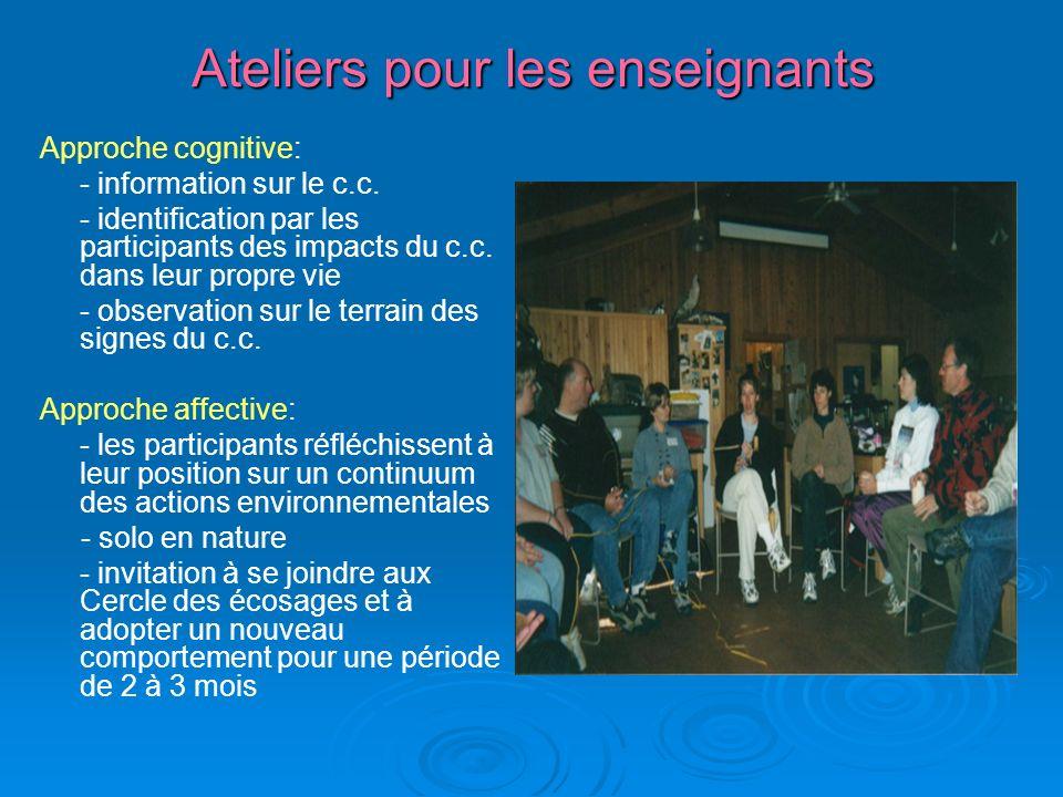 Ateliers pour les enseignants Approche cognitive: - information sur le c.c.