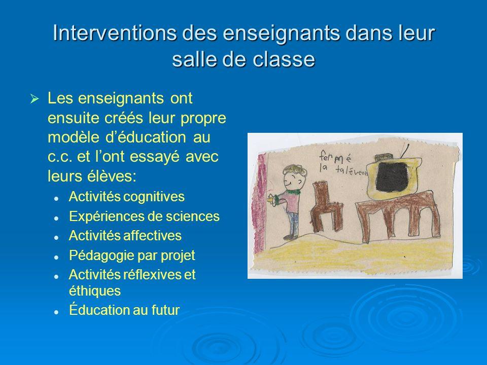 Interventions des enseignants dans leur salle de classe Les enseignants ont ensuite créés leur propre modèle déducation au c.c.