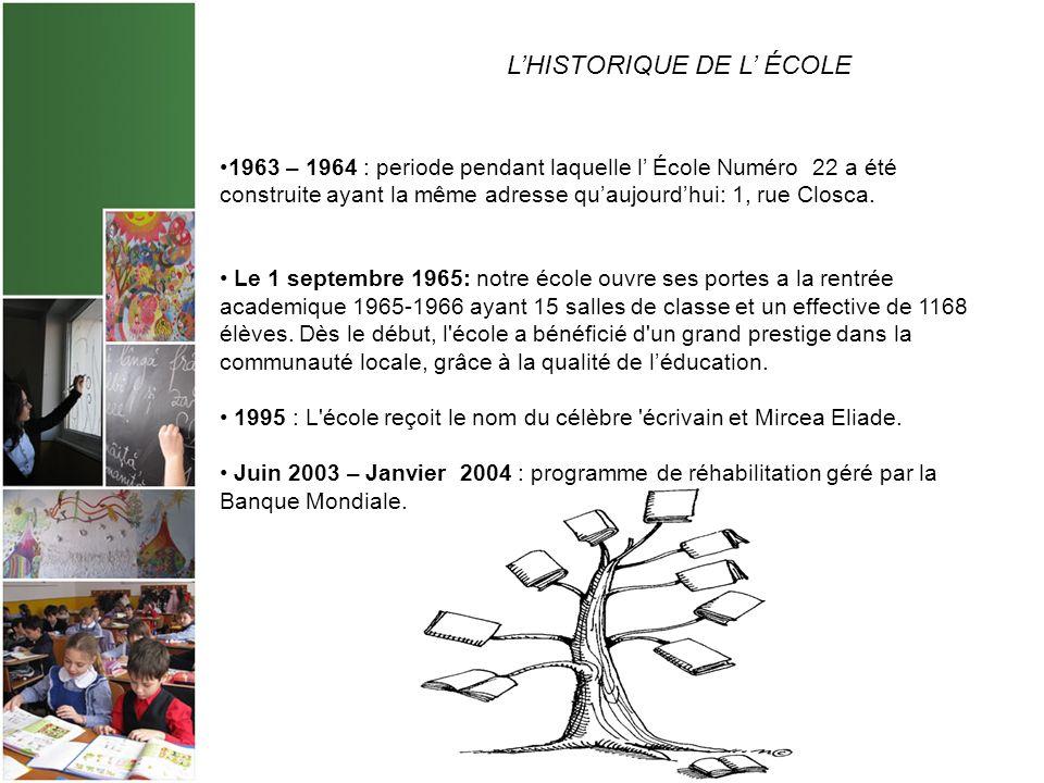 LHISTORIQUE DE L ÉCOLE 1963. 1963 – 1964 : periode pendant laquelle l École Numéro 22 a été construite ayant la même adresse quaujourdhui: 1, rue Clos